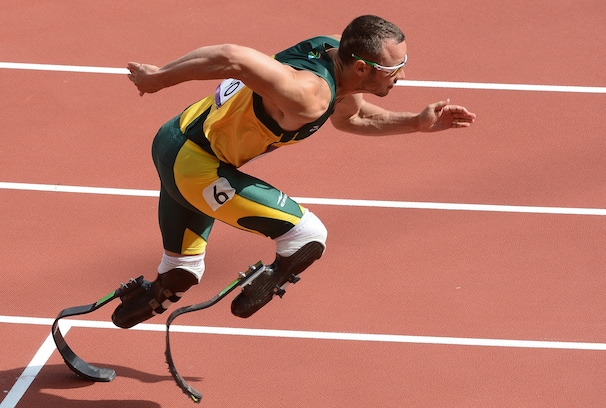 LONDON, GREAT BRITAIN - AUGUST 4: South African runner Oscar Pistorius runs in his heat of the Men's 400m race during the track and field competition on Saturday, August 4, 2012. Pistorius is the first double amputee to run in an Olympic event. (Photo by Toni L. Sandys/The Washington Post)